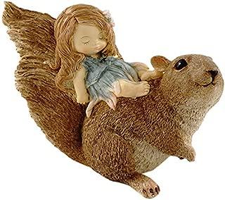 Top Collection Miniature Fairy Garden and Terrarium Statue, Little Fairy Sleeping on Squirrel