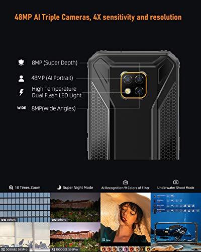 DOOGEE S95 Pro Super Mod Telephone Portable Incassable, Helio P90 Octa-Core 8 Go+128 Go 4G Full Netcom, Triple Caméra 48MP, 5150mAh+3500mAh, Android 9.0 IP68 Smartphone Etanche Antichoc, 6,3 inch FHD+