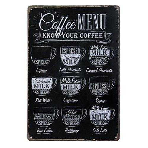 Pixnor Menú café sabe su café Metal estaño muestra placa pared arte cartel Cafe Bar Pub cerveza pared placa de pared de decoración