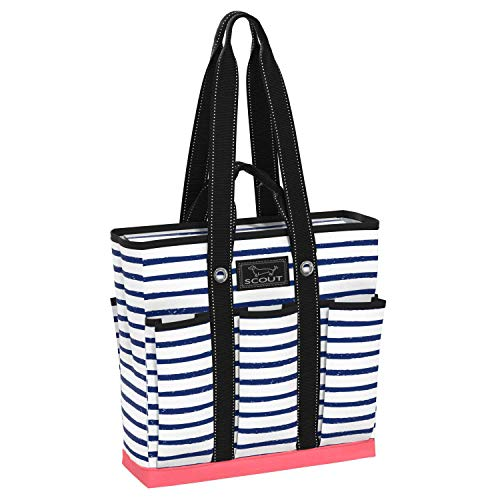 SCOUT Pocket Rocket Tote, Large Tote Bag with 6 Exterior Pockets & Interior Zippered Compartment, Utility Tote Bag for Teachers and Nurses in Ship Shape Pattern (Multiple Patterns Available)