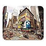 Alfombrillas para ratón Ciudad de Nueva York 22 de Agosto Alfombrilla de ratón para portátiles, Alfombrillas para Ordenadores de sobremesa, teatros de Broadway, Suministros de Oficina