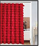spring Home Waterfall RED Ruffled Shower Curtain