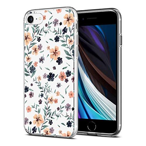 Caler Compatible con iPhone SE 2020/iPhone 7 iPhone 8 Funda de Silicona con Dibujos Flores Diseño Patrón Lindo Carcasa Transparente Suave TPU Gel Ultra-Delgado Ligera Anti-rasguños Bumper Case