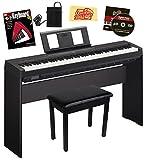 Yamaha P-45 Digital Piano - Black Bundle with Yamaha L-85 Stand, Furniture Bench, Instructional Book, Austin...