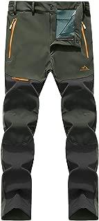 Men's Winter Outdoor Fleece Lined Softshell Pants Hiking Camping Ski Snowboard Pants 5 Zipper Pockets
