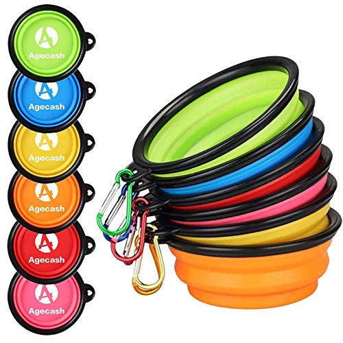 AGECASH A Collapsible Dog Bowl for Travel, 6 Pack Portable Silicone Pet Bowl, Expandable for Cat Dog Water Bowl Dish Feeding, Portable Dog Bowl with Carabiners for Walking Parking