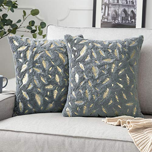 MIULEE Pack of 2 Faux Fur Feather Throw Pillow Cover Fluffy Soft Decorative Square Pillow covers Plush Case Faux Fur Cushion Covers for Livingroom Sofa Bedroom 20 x 20 Inches 50 x 50 cm Grey