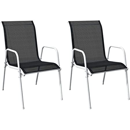 vidaXL 2X Stackable Garden Chairs Outdoor Seating Furniture Stacking Patio Dining Dinner Side Chair Armchair Steel and Textilene Black