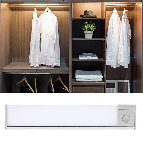 Lámpara de inducción corporal Sensor de movimiento de diseño recargable Luces de armario Lámpara de armario de 20x3,7x1 cm para sótanos Escaleras Garajes interiores(Natural light)