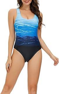 chida yi Bañadores de Mujer Traje de una Pieza con Relleno Bañador Push up Ropa de Baño Cintura Alta Size Gradiente de Color Cruz Atrás Slim Fit Cuerpo Atractivo Bañera Bikini