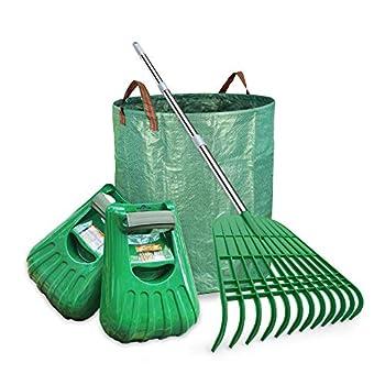 Gardzen Large Leaf Scoop & 12 Tines Gardening Leaf Rake Set Comes with 72 Gallon Garden Bag