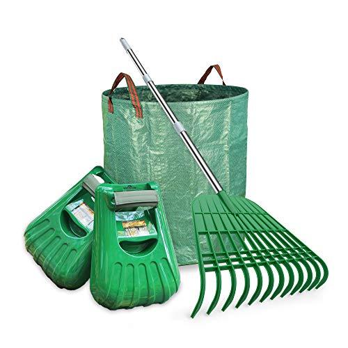 Gardzen Large Leaf Scoop & 12 Tines Gardening Leaf Rake Set, Comes with 72 Gallon Garden Bag