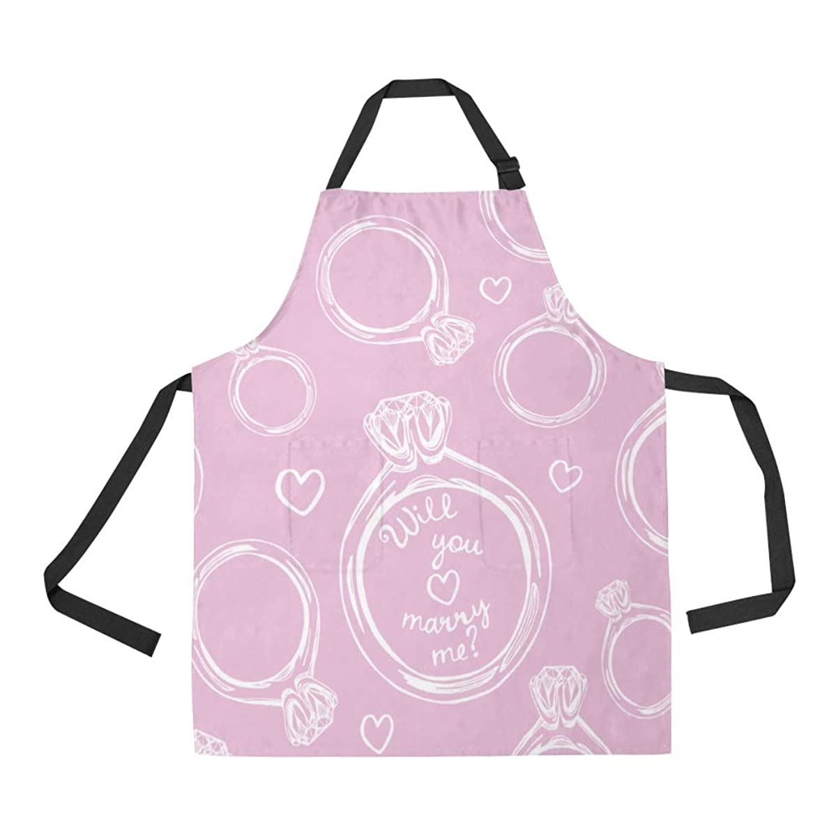NQEONR Durable Wedding Ring Romantic Couple Diamond All Over Print Apron with an Adjustable Neck&Two Spacious Front Pocketst Unisex Kitchen Home Restaurant Apron for Baking Gardening