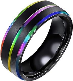TENDYCOCO Lesbiche Gay in Acciaio al Titanio Anello Arcobaleno Orgoglio LGBT Fascia Fidanzamento Matrimonio Misura 7