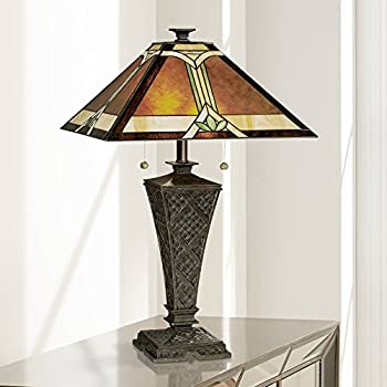 Mission Tiffany Style Table Lamp Bronze Dark Brown Wicker Pattern Antique Stained Art Glass Mica Shade Decor for Living Room Bedroom House Bedside Nightstand Home Office Family - Robert Louis Tiffany