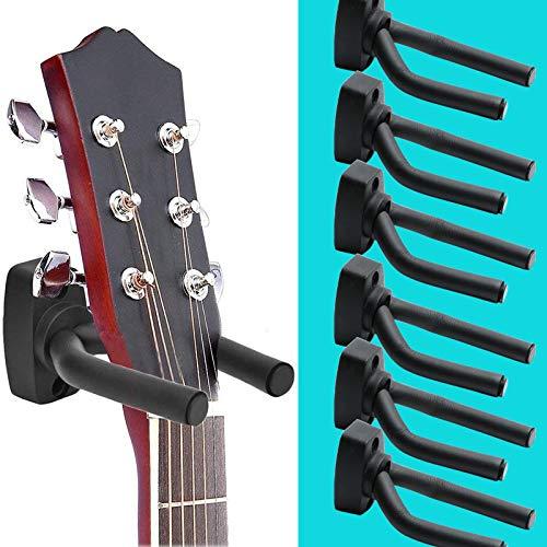 Perchas de pared para guitarra, 6 unidades de soporte de pared para guitarra, bajo, guitarra eléctrica acústica, ganchos de pared para instrumentos de cuerda, mandolinas, banjos,...