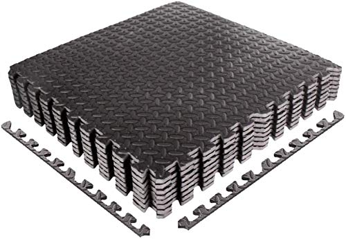 Juego de alfombrillas protectoras para fitness de 60 x 60 cm grande y estable, alfombra puzle en negro, gris o grano de madera | esterilla de protección de suelo EVA para gimnasio o sótano 6 unidades