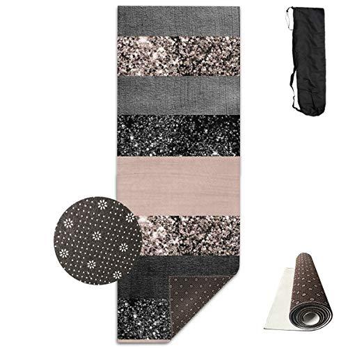 Tappetino Blush Glitter Glam Stripes #2#Shiny #Decor #art piso portátil para mejorar yoga, pilates o ballet barre ejercicio en casa en alfombra o al aire libre en cualquier lugar 61 cm x 180 cm