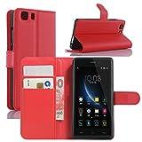 HualuBro Doogee X5 Hülle, Doogee X5 Pro Hülle, Premium PU Leder Leather Wallet HandyHülle Tasche Schutzhülle Flip Hülle Cover für Doogee X5 / Doogee X5 Pro Smartphone (Rot)