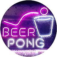 Beer Pong Bar Game Pub Dual Color LED看板 ネオンプレート サイン 標識 白色 + 紫 400 x 300mm st6s43-i3495-wp