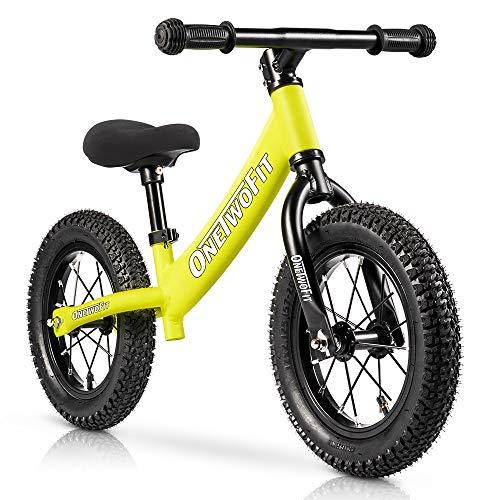 ONETWOFIT Bicicleta de equilibrio de aluminio para niños y niños, sin pedal Strider entrenamiento bicicleta con asiento ajustable, edades de 18 meses a 5 años
