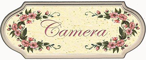 Domus Artis Targa per Porta Camera Shabby Chic Country Decoro Fiori Rosa (Camera dec. 10)