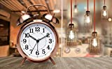 Pro Bullion Vintage Twin Bell Copper Table Alarm Clock with Night Led Light Alarm Clocks for Heavy Sleepers, Alarm Clock for Kids/Students/Bedroom (Copper)
