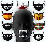 Cubierta facial de tela con dibujo Colmillos Víspera Todos los Santos Halloween Lavable...