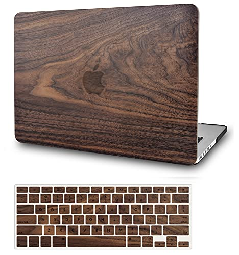 KECC Laptop Case Compatible with MacBook Air 13' w/Keyboard Cover Plastic Hard Shell Case A1466/A1369 2 in 1 Bundle (Walnut Wood)