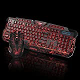 OHQ RatóN LED Gaming Wired 2.4G Keyboard and Mouse Set To Computer Multimedia Gamer Ratón con Cable Teclado Auriculares RatóN para Juegos