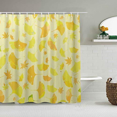 QINCO Duschvorhang,Ginkgo Blätter Ahorn abstrakt blumig,personalisierte Deko Badezimmer Vorhang,mit Haken,180 * 210