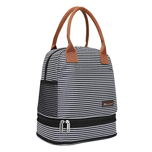 Modoker Dual Compartment Lunch Bags for Women Men, Insulated Lunch Tote with Side Pocket, Lunch Box for Work School Picnics, Blue