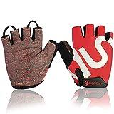 BOODUN Shock-Absorbing Gel Pad Breathable Half Finger Mountain Bicycle Bike Road Racing Gloves, Red with White Logo, Medium