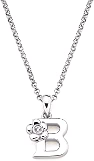 925 Sterling Silver Diamond Accent Initial Letter With Flower Accent Girls Pendant Necklace With 14