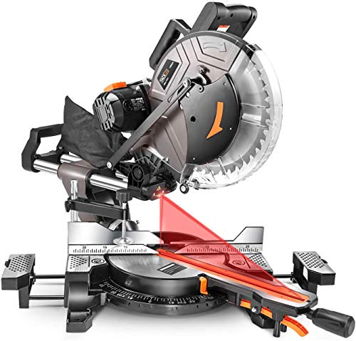 TACKLIFE Sliding Miter Saw, 12inch 15Amp Double-Bevel Sliding Compound Miter Saw with Laser, Crosscutting Miter Saw,...
