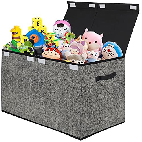 Organizador de almacenamiento de juguetes con tapa abatible, para niños, grandes cajas plegables para guardería, sala de juegos, armario, organización del hogar (negro)