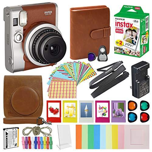Fujifilm Instax Mini 90 Neo Classic Instant Film Camera Brown with 20 Instant Film Accessory Bundle
