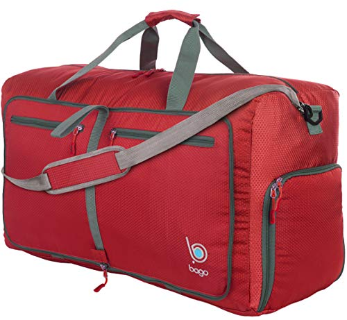 Bago 80L Duffle Bag for Women & Men - 27' Travel Bag Large Foldable Duffel bag (Red)