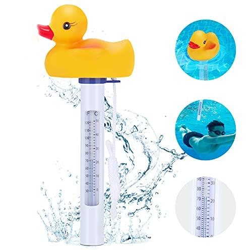 Magicfun Termometro per Piscina, Termometro Galleggiante per Acqua Resistente agli Urti con Ampio Display e Stringa per Interne all'Aperto Piscine Spa Acquari