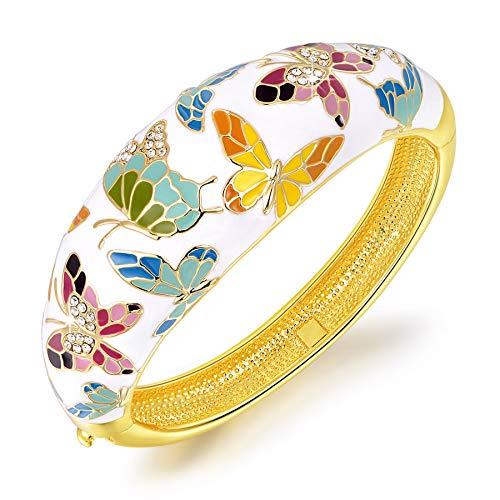 Kami Idea Armband Damen Frühling von Versailles - Schmetterling Emaille Farbe Armreif, Schmuck für Frauen, Geschenkpaket