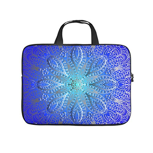 Cute Tablet Bag Dark Blue Mandala Bohemian 3D Tablet Storage Bag Anti-Scratch Neoprene Fabric Notebook Carrying Case Compatible with Tablet White 13inch