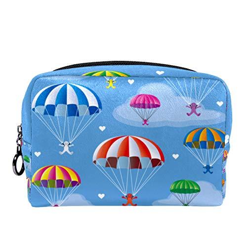Bolsa de cosméticos Bolsa de Maquillaje para Mujer para Viajar para Llevar cosméticos, Cambio, Llaves, etc. Sky Colorful Parachutes