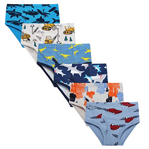 Taxzode Toddler Soft Cotton Underwear Baby Panties Little Boys' 6-Pack Assorted Briefs
