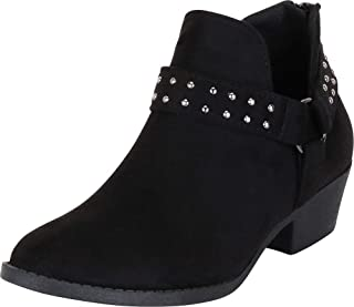 Cambridge Select Women's Western O-Ring Harness Strappy Studded Chunky Block Heel Ankle Bootie