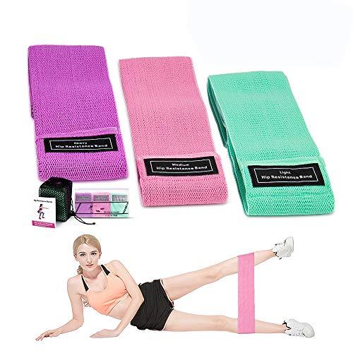Bandes de résistance, bandes de boucle d'exercice antidérapantes pour les hanches et les fessiers, bandes de résistance pour les fesses, les jambes, bandes de fitness pour le Pilates, Yoga(set 3)