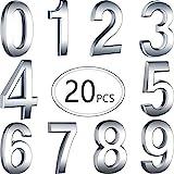 20 Pezzi Autoadesivi di Numeri Civici di Porta Numeri di Casella di Posta Numeri di Indirizzo per Segni delle Cassette Postali, da 0 a 9 (Argento, 3 Pollici)