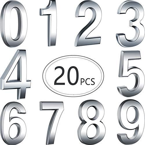 20 Stücke 2,75 Zoll Selbstklebende Hausnummern Tür Mailbox Nummern Straßen Aadress Nummern für Postfachschilder, 0 bis 9 (Silber)