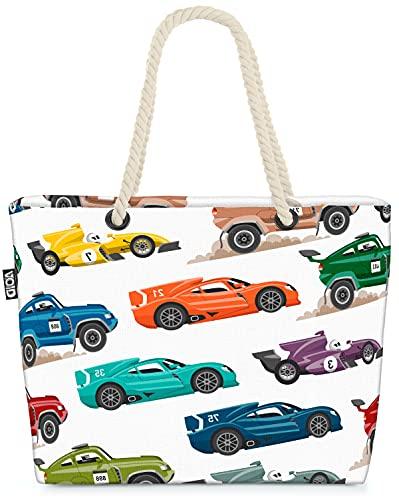 VOID Autos Rennwagen Sportwagen Strandtasche Shopper 58x38x16cm 23L XXL Einkaufstasche Tasche Reisetasche Beach Bag