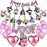 Joysnana Dog Birthday Bandana Dog Birthday Party Supplies Hat Scarf Flag Balloons Happy Birthday Banner Puppy Girl Dog First Birthday Party Decorations Pink
