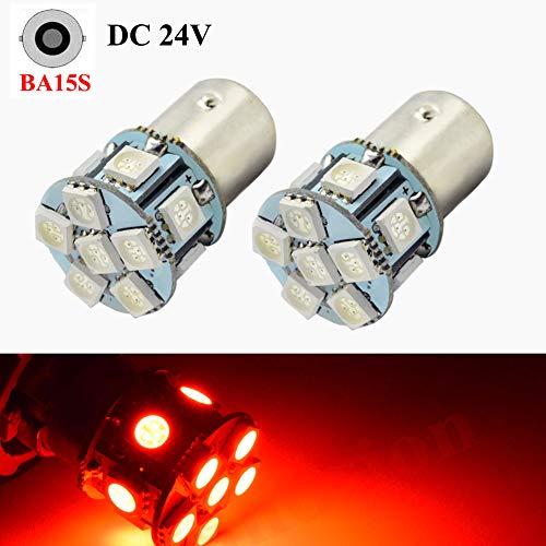Lot de 2 ampoules LED 1156 5050 5050 12SMD Chipsets Rouge Ampoule de rechange 24 V pour feu de recul, clignotant, feu arrière